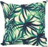 Palm Leaf Kussenhoes - Katoen/Linnen - 45 x 45 cm - Groen/Beige