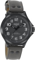 Regal R6465-010 - Horloge - Leer - Grijs - 38 mm