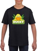 Ducky de eend t-shirt zwart voor kinderen - unisex - eenden shirt L (146-152)