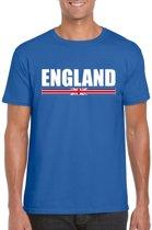 Blauw Engeland supporter t-shirt voor heren - Engelse vlag shirts M