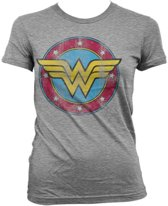 Wonder Woman - Logo distressed dames T-shirt grijs - Superhelden merchandise strips - S - Hybris