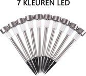 Boveld solarlamp 2019  set 10 stuks   Tuinfakkel   LED   RVS   sfeerverlichting   RGB 7 Kleuren   Tuinlampen   Zonnen energie   Design lamp   kerst lamp   Lantaarn solar