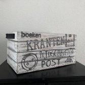Houten Krantenbak 35x21cm - Kleur Antique White