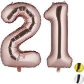 relaxdays folie ballon - cijfer 21 - luchtballon getal - decoratie - grote folieballonnen Rose goud