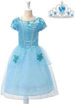 Assepoester jurk Prinsessen jurk verkleedjurk 104-110 (120) blauw met broche + GRATIS kroon