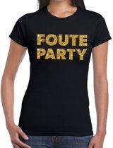 Foute Party gouden glitter tekst t-shirt zwart dames - Foute party kleding 2XL