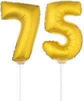 Gouden opblaas cijfer 75 op stokjes - verjaardag versiering / jaar