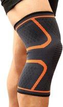 Kniebrace Kniebandage - Knie Bescherming Ortho Compressie - Elastisch Massage - Hardlopen Sporten Wielrennen - Licht / Middelzware Knieklachten - Zwart / Oranje - L