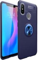 Teleplus Xiaomi Mi 8 Ravel Ring Silicone Case Navy Blue + Nano Screen Protector hoesje