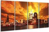 Glasschilderij Gebouw | Oranje, Bruin, Geel | 160x80cm 4Luik | Foto print op Glas |  F002459