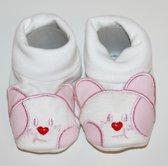 """Slofjes """"poesjes"""" roze - 0-6 maanden"""