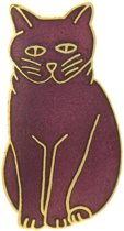 Behave® Broche poes kat paars emaille