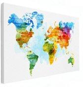 Wereldkaart schilderij op canvas aquarel groot 120x80 cm | Wereldkaart Canvas Schilderij