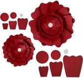 Papieren bloemen, d: 15+25 cm, 230 gr, rood, 2stuks