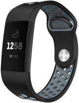 123Watches.nl Fitbit charge 3 sport band - zwart grijs - ML