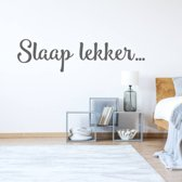 Muursticker Slaap Lekker -  Donkergrijs -  120 x 30 cm  - Muursticker4Sale