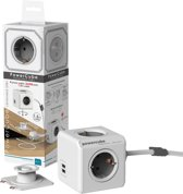 Allocacoc PowerCube Extended Duo USB, 1.5m kabel, Wit/Grijs