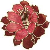 Behave®  Broche bloem rood - emaille sierspeld -  sjaalspeld