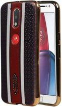 Motorola Moto G4 Hoesje M-Cases Ruit Design TPU Backcover Bruin