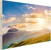 Zonsondergang in de bergen Hout 160x120 cm - Foto print op Hout (Wanddecoratie) XXL / Groot formaat!