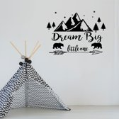 Muursticker Dream Big Little One -  Rood -  60 x 45 cm  - Muursticker4Sale