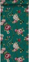 Origin behang bloemen smaragd groen - 347432