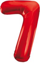 Cijfer 7 Rood Helium 86 cm