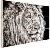 Leeuw in de winter  Hout 120x80 cm - Foto print op Hout (Wanddecoratie)