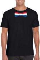Zwart t-shirt met Hollandse vlag strikje heren -  Nederland supporter M