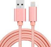 2m 3A geweven stijl metalen kop 8 pins USB data / oplader kabel, voor iPhone XR / iPhone XS MAX / iPhone X & XS / iPhone 8 & 8 Plus / iPhone 7 & 7 Plus / iPhone 6 & 6s & 6 Plus & 6s Plus / iPad (rose goud)