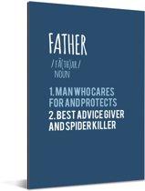 Cadeaus voor de liefste vader - blauwe print met tekst - Father Aluminium 40x60 cm
