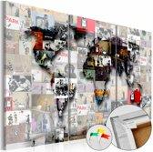 Afbeelding op kurk - Banksy Collage, Wereldkaart, Multikleur , 3luik
