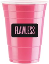 50 Pink Cups Flawless Design - 500ml Roze Party Bekers dubbelzijdig bedrukt - Original Beer Pong