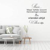 Muursticker Thuis Waar Liefde Woont -  Zwart -  40 x 40 cm  - Muursticker4Sale