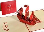 Popcards popupkaarten - Stoer zeilschip driemaster schip boot verjaardag gefeliciteerd jarig pop-up kaart