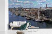 Fotobehang vinyl - De haven van het Duitse Kiel breedte 360 cm x hoogte 240 cm - Foto print op behang (in 7 formaten beschikbaar)