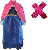 Prinses Anna blauwe verkleedjurk + handschoenen maat 128/134 - labelmaat 140 - roze cape
