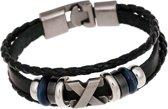 Fako Bijoux® - Armband - Leder Exclusive - 20cm - X - Zwart