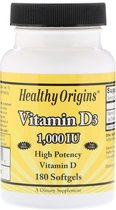 Vitamine D3 1000 IU (180 softgels) 6 maanden - Healthy Origins