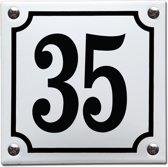 Emaille huisnummer wit/zwart nr. 35