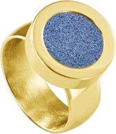 Quiges RVS Schroefsysteem Ring Goudkleurig Glans 20mm met Verwisselbare Glitter Blauw 12mm Mini Munt