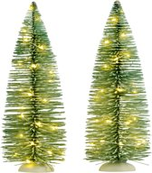Luville - Frosted tree 2 pieces warm white lights h22.5cm