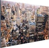Verlicht Manhattan vanaf boven Aluminium 30x20 cm - Foto print op Aluminium (metaal wanddecoratie)