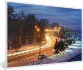 Foto in lijst - Prachtige straten en straatlantaarns van Dnipro in Europa fotolijst wit 60x40 cm - Poster in lijst (Wanddecoratie woonkamer / slaapkamer)