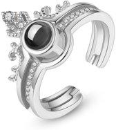Semyco® I love you ring dames zilver – Verstelbare ring - Tweedeling - Magische boodschap
