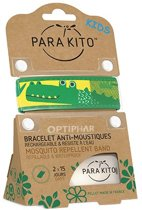 Parakito Kids Anti-Muggen Armband Green Crocodile + 2 navullingen