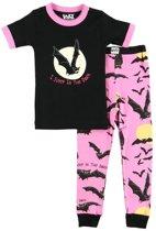 Kinderpyjama I Sleep In The Dark Bat zwart met bedrukte roze broek - 98