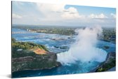 Luchtfoto van de Niagarawatervallen Aluminium 30x20 cm - klein - Foto print op Aluminium (metaal wanddecoratie)