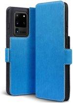 Samsung Galaxy S20 Ultra hoesje, MobyDefend slim-fit extra dunne bookcase, Blauw - Geschikt voor: Samsung Galaxy S20 Ultra