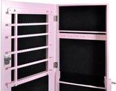 vidaXL - Staande spiegel Sieradenkast met spiegel 146 x 37 x 46 cm (roze)